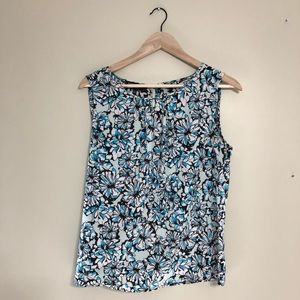 Blue floral blouse/shell